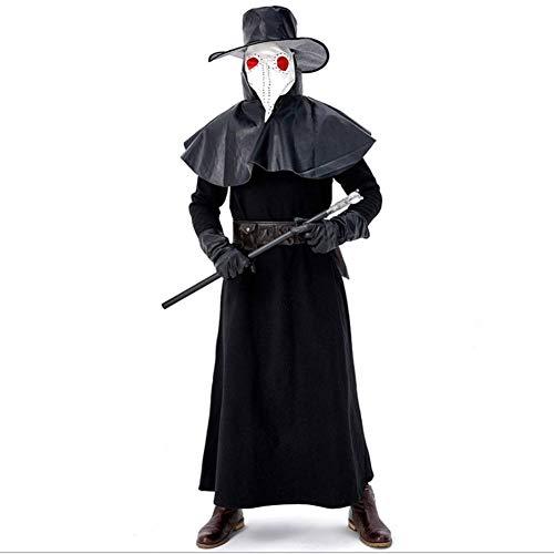 Kostüm Krähe - AIYA Mittelalterliche Steampunk Wind Halloween Erwachsenen Kostüm Pest Schnabel Doktor Krähe Langen Mund Maske