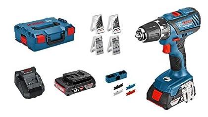 Bosch Professional - Taladro atornillador GSR 18 (2 baterías x 2.0 Ah, 18 V, par de giro max.: 63 Nm, L-BOXX)