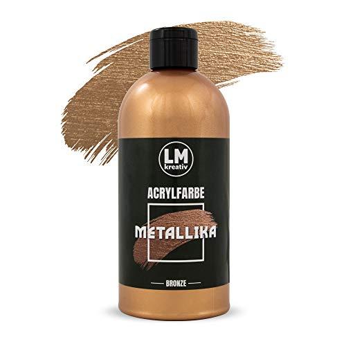 LM Kreativ Metallika 500 ml (Bronze) - Metallische Glanz-Farbe Metallic-Farbe Acryl-Farben Maya Gold Edelmetall Farben Metall-Farbe
