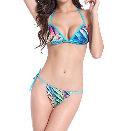 Damen Sommer Strand Brasilien wilden sexy Halfter Bikini Bandage Bademode Push Up Set Badeanzug Blau
