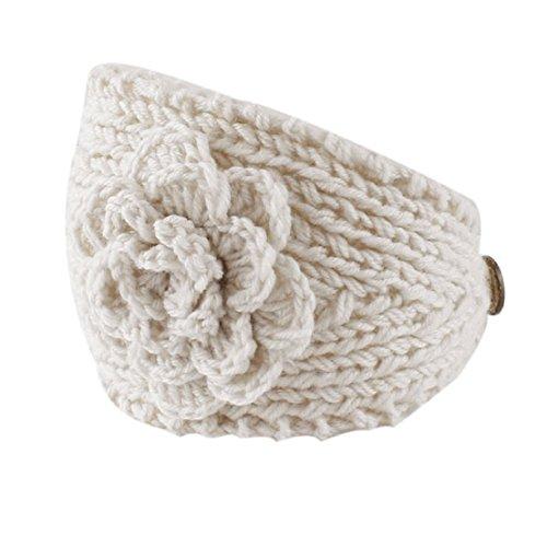 isefrauen-Häkelarbeit-Stirnband-Strick-Stirnband-Blumen-Winter-Ohr-Wärmer Headwrap neue Mode Headbands Haar Band Kopftuch Stirnband (Weiß) (Blume-stirnband)