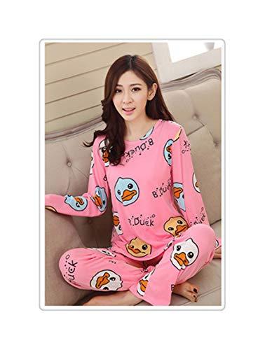 PLOPYSE& Winter 2pieces Pyjamas Set Women Girls Cotton Round Neck Pajamas Sets Teacup Cat Sleepwear Clothes yatou pink M