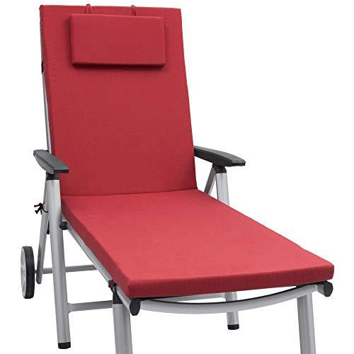 Beautissu Loft RL Auflage für Gartenliege 200x60x5 cm UV-Beständige Sonnenliege Auflage mit Reißverschluss Rot in verschiedenen Farben erhältlich