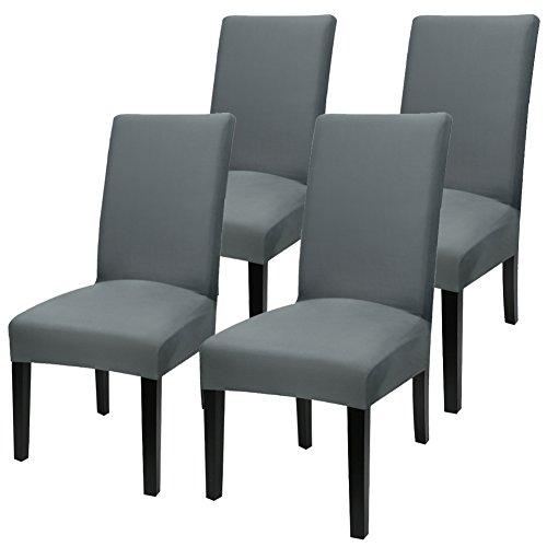 Yisun Universell Stuhlhussen 4er/6er Packung Stuhlüberzug Stretch Stuhlbezug (D, 4er Set)