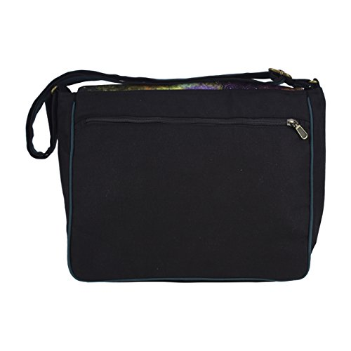 Sunsa Damen Messengertasche Umhängetasche Canvas Tasche 36x30x12 cm (fuchsia) schwarz