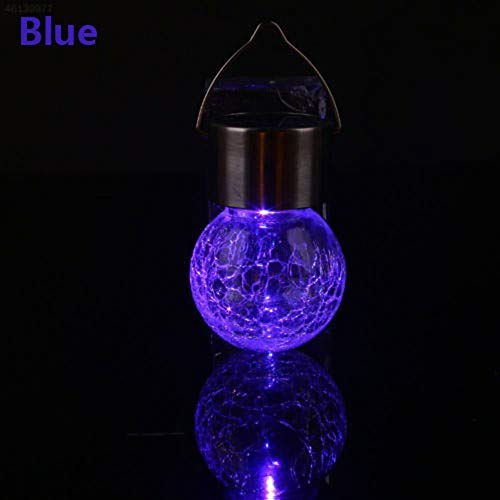 Hunpta@ Creative Colour Changing Solar Mosaic Crackle Globes LED Garden Lights (Blue)