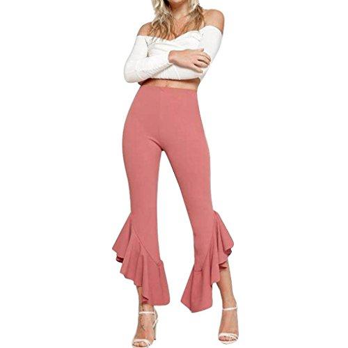 bescita Frauen Boho Hippie Hohe Taille Breites Bein Lange Ausgestelltes Bell Bottom Yoga Leggings Hosen (L, Rosa) -