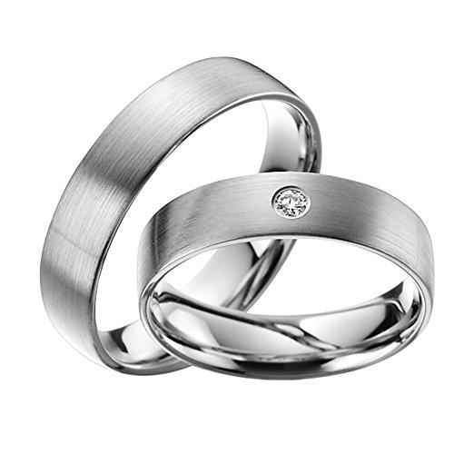 Skielka Designschmuck-TRAURINGE 5mm con brillante 0.04ct. (platino 600) prezzo per la coppia, fedi nuziali, Partner anelli, dell' amicizia in dell'