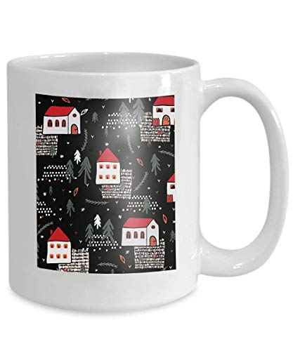 Mug Coffee Tea Cup Xmas Village Church House Pattern Black red Color Christmas Village Church House Pattern Black red 110z - Red Cup Coffee House
