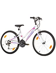 24Pulgadas Adventure de la UE del juvenil Rueda de bicicleta Bike Cycling–Bicicleta para mujer niño–Bicicleta infantil de niña bicicleta mountain bike MTB Shimano 18marchas. Blanco