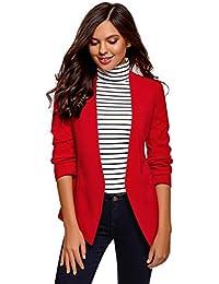 cb7856b971f5 ... Tailleur e giacche   Rosso. oodji Ultra Donna Blazer Aderente con  Maniche a 3 4