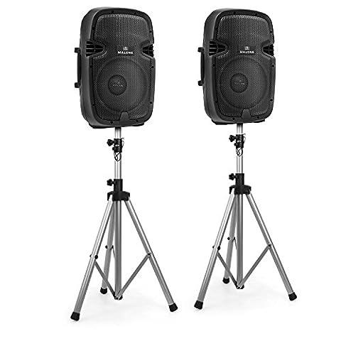 Malone 2.0 PA-Aktivboxen Lautsprecher Boxen Paar 2er Boxen Set (10 Monitorlautsprecher, Aktiv, XLR-Mikrofon-Eingänge, inkl. 2 Dreibein Stative) schwarz