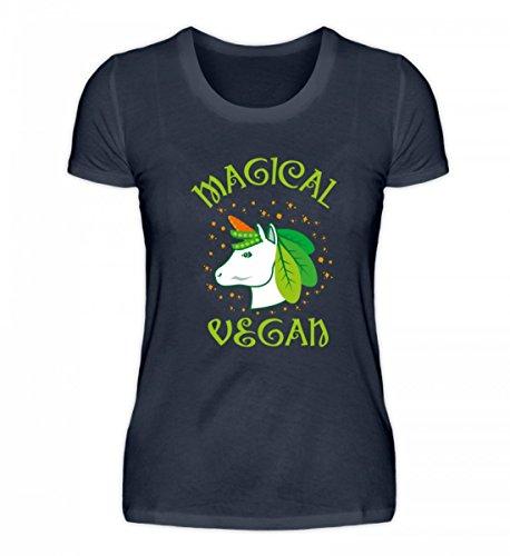 Shirtee Hochwertiges Damen Organic Shirt - Magical Vegan - Unicorn Einhorn Veganer Gemüse Obst Magie Ernährung Gesundheit Tiefblau