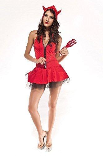 Damen 4-teiliges Sexy Hot Red Devil Erwachsene Halloween Kostüm Outfit UK 8-12 (Red Hot Devil Kostüm)
