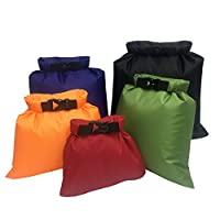 Aesy Waterproof Dry Bag Set, Lightweight Combo with 1.5L, 2.5L, 3.5, 4.5L, 6L Sacks, Perfect for Kayaking, Rafting, Boating, Hiking, Camping, Cycling, and Fishing (Mix-colour)