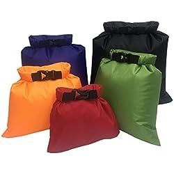 Aesy Bolsa Estanca, Bolsa Impermeable, Bolsa Seco, Ligero, Ultra Ligero, para Kayak, Senderismo, Viaje, Bicicleta, Surf, 5 Juegos (1.5L / 2.5L / 3.5/4.5L / 6L) (5 Color)