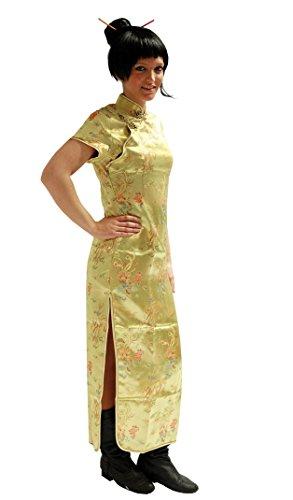 GOLD KURZARM Gr. s Asia Kleid Drachen Chinakleid Kleid Kimono Asia Style Geisha Qipao Karneval Damenkostüm Köstum