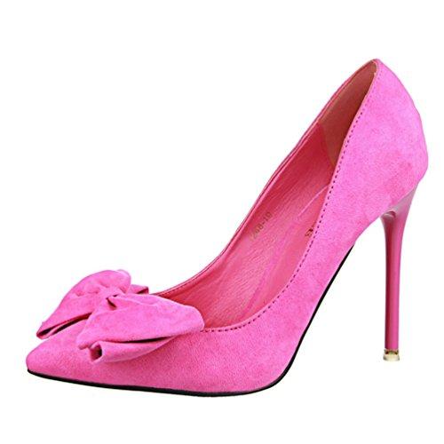 HooH Femmes Boucle Cheville Diamonds D'Orsay Stiletto Escarpins 305-2 Rose Rouge
