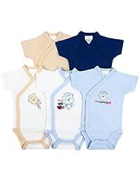 5er-Pack Baby Bodys Wickelbodys 1//4 Arm Kurzarm Set Teddys Gr 50 bis 62