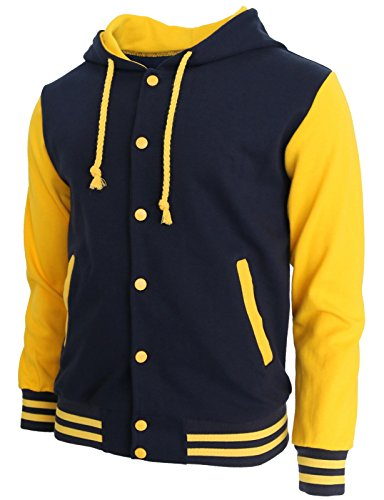 BCPOLO Hoodie Baseball Jacke Varsity Baseball-Jacken-Baumwolle Letterman Jacke Navy-Yellow-XS