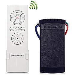 Plafonnier Knonew ventilateurs télécommande 3 vitesses RF sans fil 4 Câbles universel lampe Fonctionnement kit Light on/off pour Home/Office/hôtel ventilateur de plafond kit télécommande sans fil