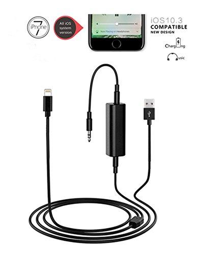 Glanz@ SHINE BMW iPhone 7/7 Plus Y Kabel Musik Interface und Lightning Ladegerät Adapter, 3,5 mm Klinke und USB AUX In Cord, passend für alle iPhone 7/7 Plus (inkl. 10.3) (39 Zoll / 100 cm) (Bmw-auto-stereo-system)