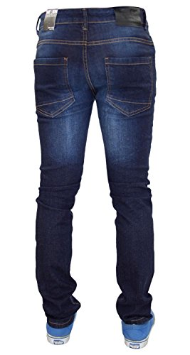 New Mens 7 Series Biker Style Stretch Skinny Slim Fit Cotton Ripped Denim Jeans Dark Wash