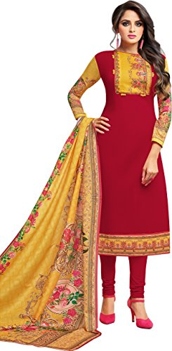Oomph! Women's Unstitched Cotton Salwar Suit Dupatta Material - Scarlet Red