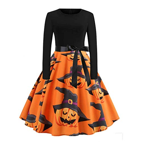 Zottom Halloween Vintage Langarm Druck Frauen Langarm Halloween Musiknoten Print Vintage Flare Kleid -