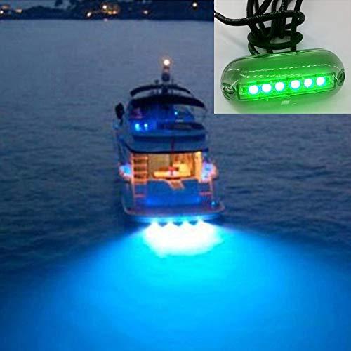 LED Light Celinezl 6 leds unterwasser angeln licht ip68 wasserdicht boot nachtlicht wasser landschaft beleuchtung für marine boat, kabellänge: 1,2 mt, dc 12 v (weißes licht) (Farbe : Green Light) - Lichter Led-unterwasser-boot