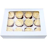 10boîtes à cupcakes avec fenêtre et inserts 4,6,8,10,12trous, 12 Holes