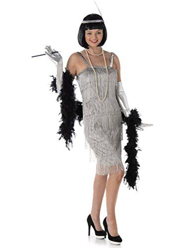 Silver Flapper Ladies Fancy Dress 20s 1920s Jazz Charleston Womens Adult (Womens Silver Kostüme Flapper 20s)