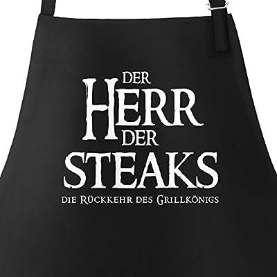 MoonWorks Grill-Schürze für Männer mit Spruch der Herr der Steaks die Rückkehr des Grillkönigs