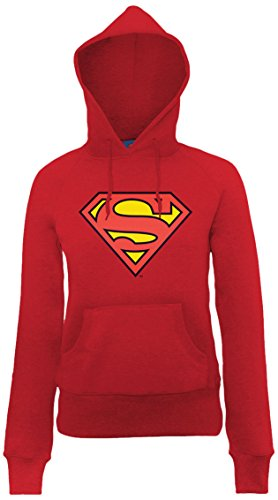 DC Universe Damen Kapuzenpullover Dc Comics Official Superman Shield Womens Hooded Sweatshirt Rot - Cherry Red