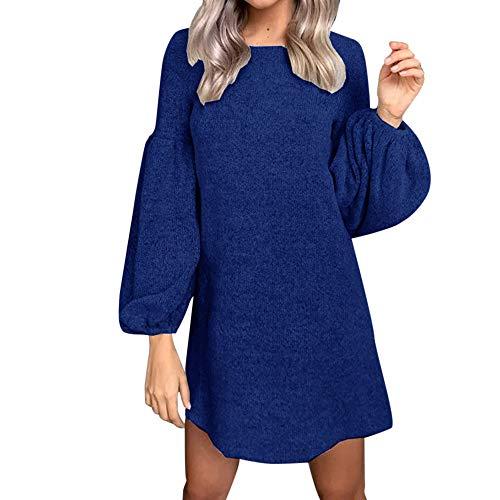 NPRADLA Frühling Sommer Damen Mini Kleider Elegant Langarm O Ausschnitt Einfarbig Hauchhülse Strickkleid ()