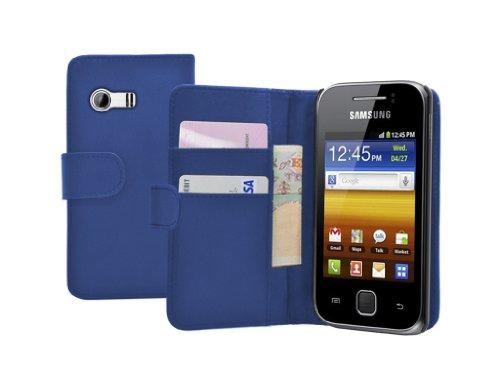 Membrane - Blau Brieftasche Klapptasche Hülle Samsung Galaxy Y (GT-S5360) - Flip Case Cover + 2 Displayschutzfolie