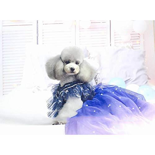 Braut Fantasy Kostüm - WHZWH Puppy Dog Princess Dresses, Hundebraut Kostüm Blau Lila Fantasie Design Mehrschichtrock Extra Langer Schwanz Geeignet für Hochzeitsfoto-Festivalparty,L