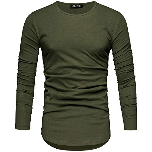 REPUBLIX Oversize Herren Longsleeve Vintage Sweatshirt O-Neck Basic O-Ausschnitt Shirt R-0038 Khaki L