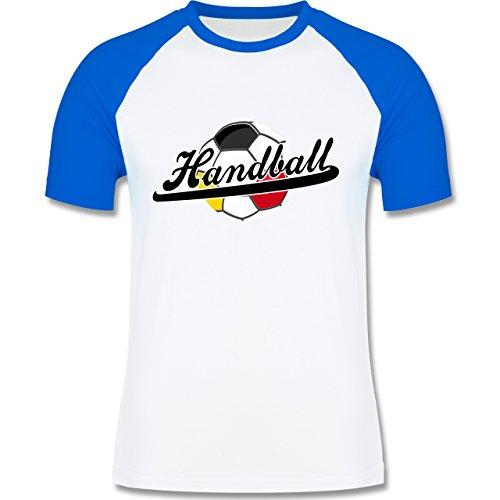 Handball - Handball Deutschland - zweifarbiges Baseballshirt für Männer Weiß/Royalblau