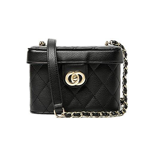 FDGHJJKO Box bag woman ring chain bag lock small square bag one shoulder slant edging makeup box bag Single Surface Box