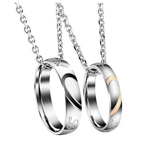 Jovivi 2 pcs collana in acciaio per coppia con pendente anello puzzle cuore spezzato argento regalo per lui lei di san valentino può personalizzare-1