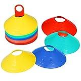 Kosma Markierungsteller Einstellen | agility Kegel | Marker Kegel | Fußball Fußball Sport Training - Multi Set mit 50 (verschiedene Farben)