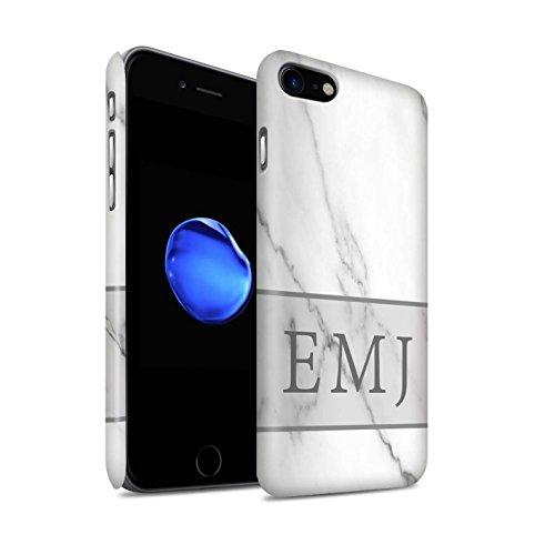 Personalisiert Individuell Marmor Matte Hülle für Apple iPhone 7 Plus / Schwarze Schärpe Design / Initiale/Name/Text Snap-On Schutzhülle/Case/Etui Silber Banner