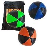 Lot de 3 balles à jongler Flash pro jonglerie Bleu/Orange/Vert bicolor (6 faces) en simili cuir complet avec sac de rangement
