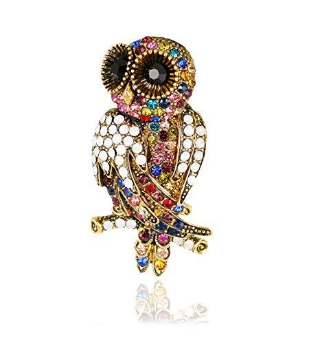 KristLand – Vintage Gold Ton Eule Vogel Brosche mit österreichischen Kristallen für Damen Herren Halloween/Herren/Damen/Outfits
