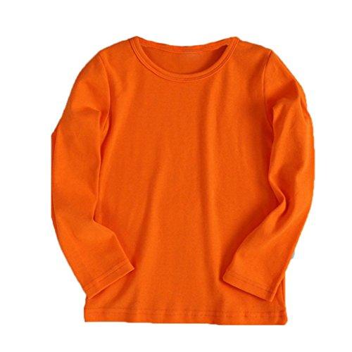 URSING Kinder Super süß Langarmshirts Süßigkeit Clour Familienkleidung Langarmshirt Basic Schlichtes Einfarbige Sweatshirt Junge Mädchen T-Shirt Unisex Klassik Pullover (90CM, Orange)