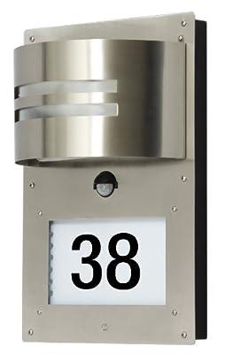 Ranex 5000.418 Rostfreie Edelstahl Hausnummernleuchte mit Bewegungsmelder / Erfassungsbereich 130° x 8 Meter von Ranex GmbH auf Lampenhans.de