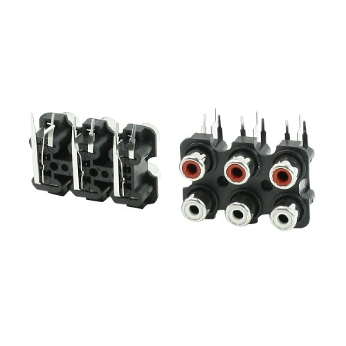 sourcing map 2 Stücke 6 RCA PCB Mount Buchse Outlet Jack Connector RCA Socket schwarz - Rca-jack Pcb Mount