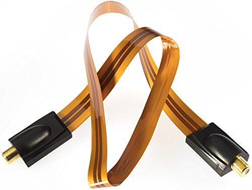 Poppstar 1x 52cm SAT Fensterdurchführung, Türdurchführung für Koax Kabel Kupplung (F-Stecker), sehr flach (0,2mm) für Fenster und Türen, vergoldete Kontakte, orange