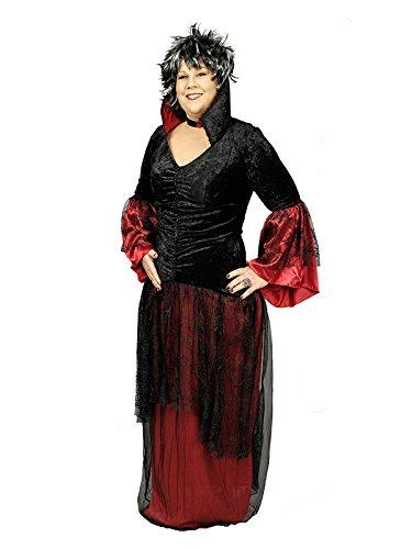 Elegante Vampirin Hexe Damenkostüm Plus Size schwarz rot 52/54